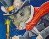 Dickens Christmas Mice No. 2, Scrooge Limited Edition ACEO Giclee Print reproduced from the Original Watercolor