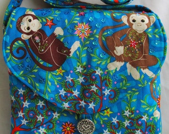 Cute Mystic Monkey first handbag for Young Lady Crossbody SpanglyBaggles Zip Pocket SALE