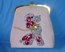 Vintage 50s Large Rare Pink Poodle Purse Handbag with Beading and Gems LAYAWAY Available