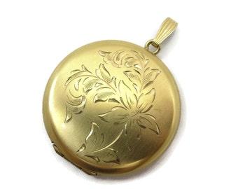 Vintage Gold Round Locket - Etched Floral, 12k Gold Fill