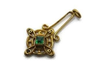 Antique Lavalier Pendant - Edwardian Filigree Emerald Green Paste Art Nouveau