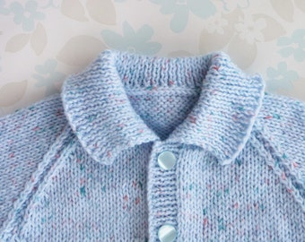 PREMATURE / SMALL NEWBORN Baby Boy Sweater - 5 to 11 lbs (up to around age 2 months) - blue baby yarn with tiny flecks of teal and orange