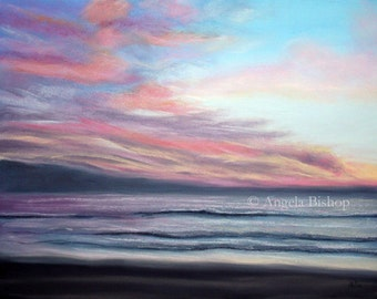 Sunset Painting Print, Art Print, Pastel, Home Decor, Reproduction, Giclee, 5 x 7, Sunset Beach, Beach, Seascape, Sunset, Ocean, Sunrise