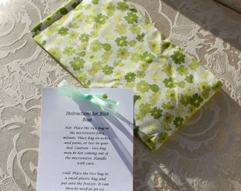 Therapeutic Rice Bag, Heating Pad, Hot Therapy Bag, Bohemian Festival, Green, Floral, Flowers, Girl, Small