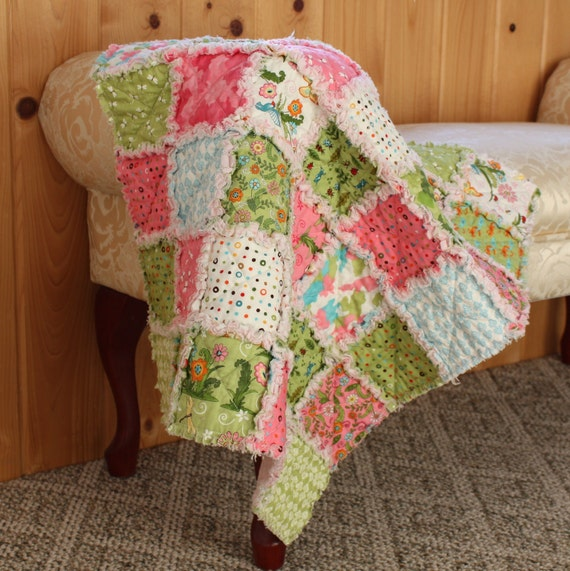 Meadow Friends Baby Rag Quilt, Baby Blanket, Pink, Green, Butterfly