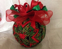 Holly and Berries Unique Handmade Keepsake Quilted Star Christmas Ornament Hostess Gift Christmas Gift Teacher Gift