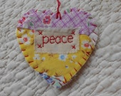 Wordz From the Heart Snippet Ornament - PEACE - Stitched From Recycled Vintage Quilt Piece
