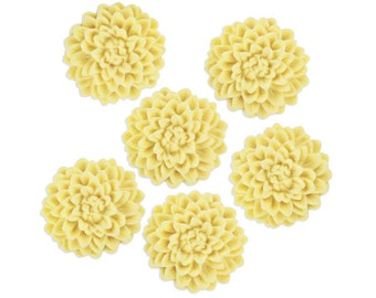 6 Light Yellow Fondant Chrysanthemums - pastel yellow edible sugar flowers for decorating cupcake, cakes, and cookies.