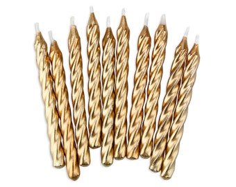 Gold Twist Birthday Candles - 10 metallic golden birthday cake candles
