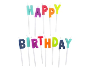 Bright Happy Birthday Candles - 13 colorful candles for topping birthday cakes!
