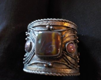 Brass Cuff Bracelet with Large and Small Stones