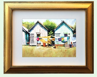 "Clothesline Shotgun House Art ""Louisiana Wash Day"" Framed and Matted Print Signed and Numbered"