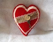 Red Stuffed Heart Hanging Felt Heart with Key Charm