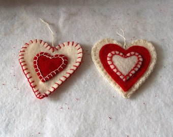 Set of 2/Red and Off White  Heart Hanging Felt Hearts