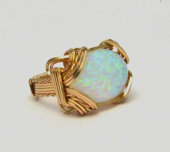 Rose Gold Ring  Wire Wrapped ring  14kt Yellow & Rose Gold Filled Handmade Victorian Synthetic Opal Cabochon Ring