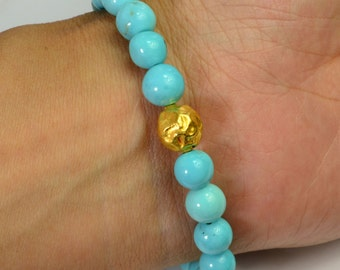 18K Solid Yellow Gold Sleeping Beauty Turquoise Bead Bracelet 7 INCH