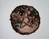Pentacle Disk Altar Art Brown Green Witch Wiccan Wizard Pagan