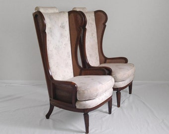 2 HOLLYWOOD REGENCY cane wing back chairs