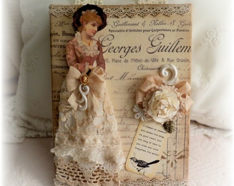Shabby French Chic Vintage Inspired Wall Hanging Lace Roses Victorian Paper Doll Shabby Chic Home Decor