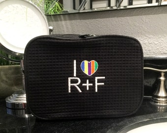 Rodan & Fields Waffle Cosmetic Bag -Embroidered  R + F