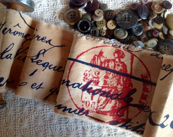 FRENCH   - Distressed - Hand Frayed  Trim - French Script - Postage Cancellation - Decorator Fabric