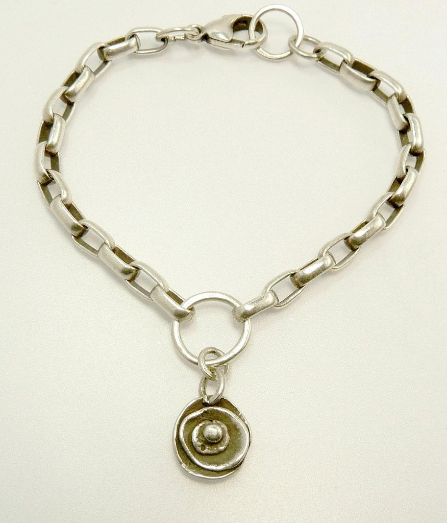 sterling silver oval link charm bracelet chunky single charm