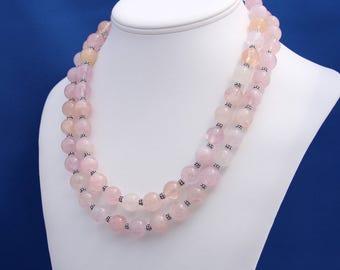Morganite and Bali Silver Double Strand Necklace, Pink Emerald Necklace, Emerald Double Strand Necklace, Taurus Zodiac Birthstone, Pink