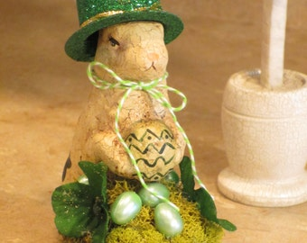 Paper mache St Patrick Bunny Rabbit w/Eggs and Green Shamrocks