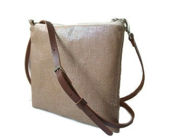 Simple Crossbody Purse, CrossBody Bag, Metallic Linen Shoulder Bag in Coffee