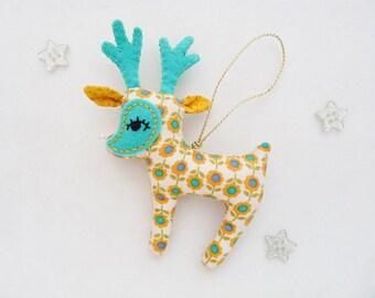 Deer Ornament Christmas Mint Yellow Reindeer Plushie