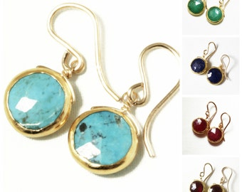 Real Turquoise Earrings Gold Bezel Earrings Genuine Turquoise Jewelry December Birthstone One of a Kind BZ-E-105-Turq/g