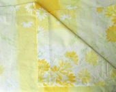 Vera Queen Size Percale  Flat Sheet in Bright Yellow and White Ombre Floral Design, Vintage Bedding, Fabric Supplies, Daisies