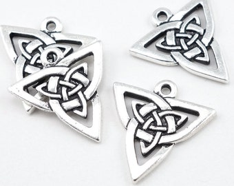 Antique Silver Celtic Pendants - TierraCast Open Triangle Celtic Charm - 22mm Silver Pendant - Meditation Jewelry Supplies  (P411)