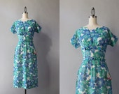 1950s Dress / Vintage 50s Blue Floral Wiggle Dress / 50s Deadstock Bows and Rhinestones Sheer Fitted Dress