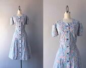 1930s Dress / Vintage 30s Cotton Floral Day Dress / 1940s Pink Blue Floral Cotton Dress