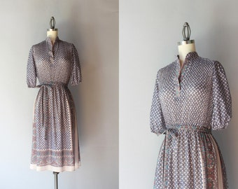 1970s Dress / Vintage 70s Sheer Paisley Dress / Seventies India Inspired Dress
