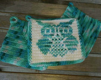 Owl Wash Cloths, Hot Pads, Crochet, Washable, Reusable