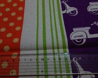 Half Yard Japanese Linen Blend Cotton Fabric Kokka Echino Etsuko Furuya Scooter 2 colors to choose