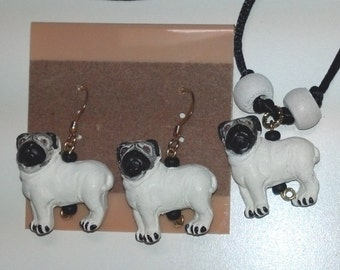 Pug Jewelry, Pet Earrings, Pug Earrings, Pug Necklace, Pug Rear View Mirror Charm, Dog Breed Jewelry, Dog Jewelry For Humans