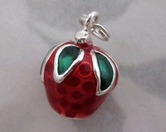 Sterling silver 925 enameled strawberry fruit salad charm - s30