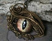 Gothic Steampunk Bronze Eye Pendant Medium