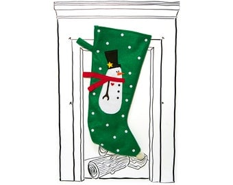 "Christmas Stocking Green Snowman with Polka Dots, 23"" x 11"", Fully Lined, Handmade, Super Fun Twist on the Traditional"