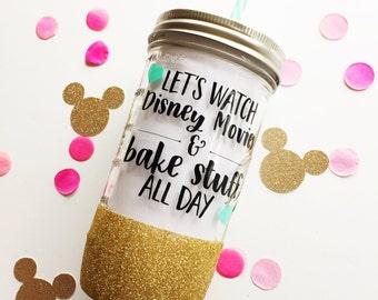 Disney Movies and Bake Stuff /// Glitter Mason Jar Tumbler // Glitter Tumbler // Glitter Glass
