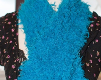 On Sale Handknitted Fluffy Blue Scarf