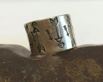 Sterling silver Hand Stamped Textured Wide Band  - Made to Order