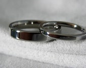 Ring Set, Titanium Wedding Bands, Polished Mirror Finish, 2 to 5mm widths only