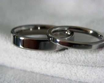 Ring Set, Titanium Wedding Bands, Polished Mirror Finish, 2 to 4mm widths only listing