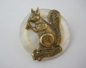 Squirrel Brooch on Vintage Mother of Pearl Button Woodland Creature Pin Large One of a Kind Unique Coat Bag Hat Pin
