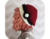 super slouchy pokemon pokeball hat - bulky chunky slouchy beanie