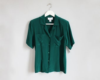 1980s SILK blue - green deadstock short sleeve blouse nwt / s